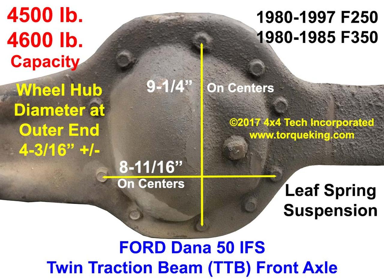 1980 1997 ford dana 50 ifs front axle id rh torqueking com Ford F-250 Front Axle Diagram 2002 Ford F-250 Front Axle Diagram