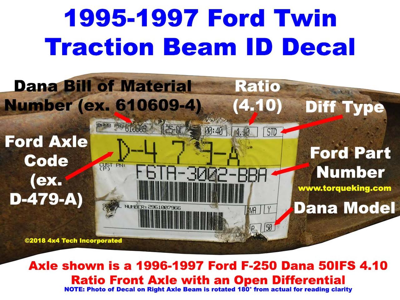 1980 1996 Ford F 250 Dana 44 Ifs Front Axle Id 1983 4x4 1995 F250 Decal