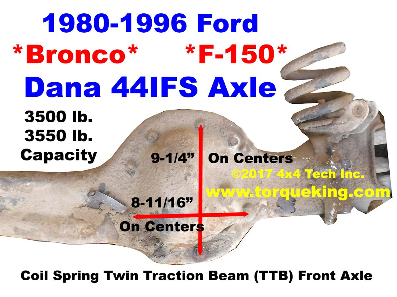 Dana 44ifs Axle Identification For 1980 1996 Ford Bronco F150 Truck Brush Guards And Twin Traction Beam Front