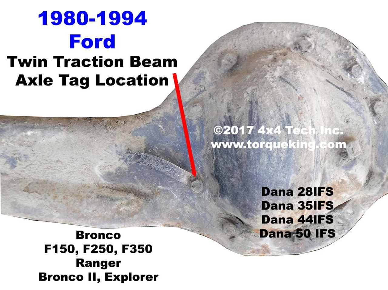 Dana 44ifs Axle Identification For 1980 1996 Ford Bronco F150 Full Size 1994 And Twin Traction Beam Front