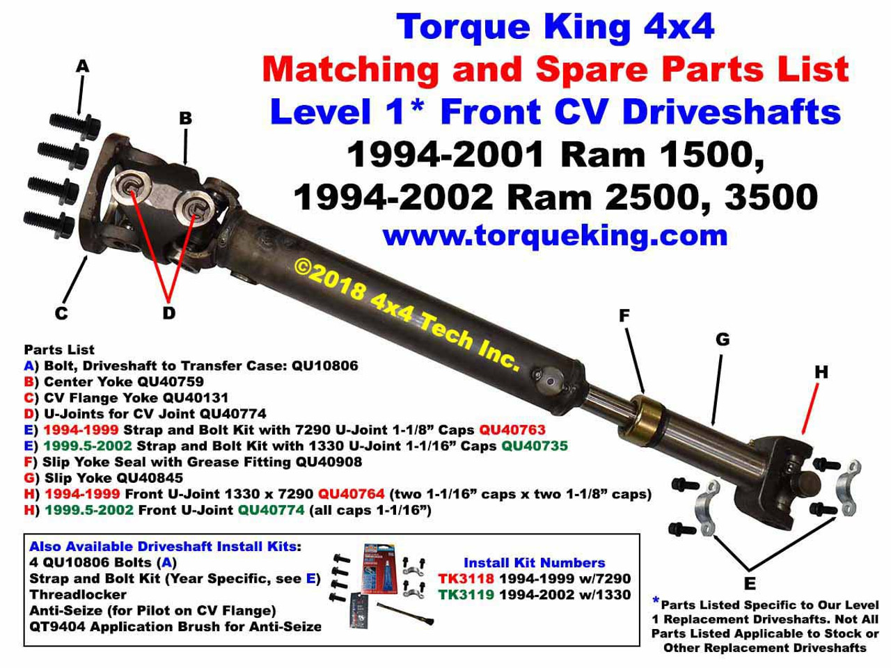 New! Level 1* Front CV Driveshaft Exploded Views for 1994 ...