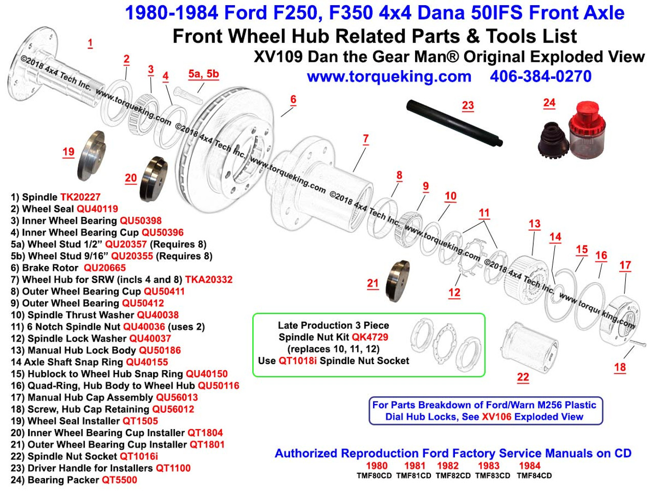 Xv109 1980 1984 Ford F250 F350 Dana 50ifs Front Wheel Hub Exploded View Differential Diagram