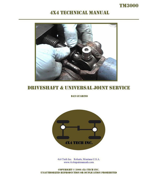 TM3000 Driveshaft and Universal Joint Service Manual