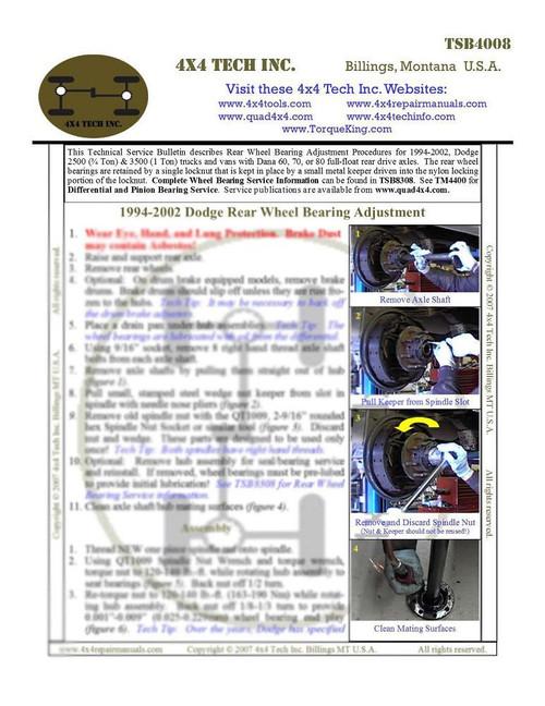 TSB4008 Rear Wheel Bearing Adjustment on 1994-2002 Dodge Ram 2500, Ram 3500 Trucks