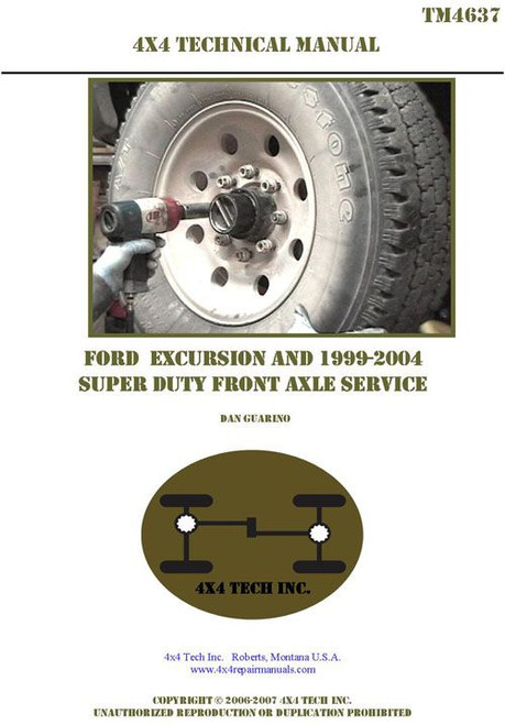 TM4637 Front Axle Tech Manual for Excursion & 1999-2004 Super Duty