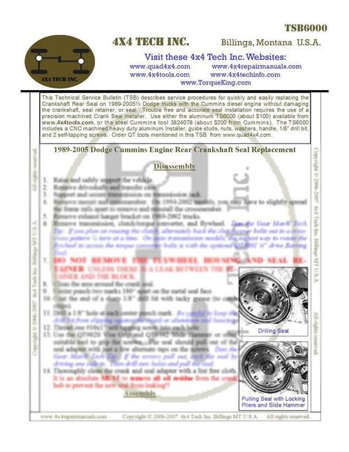 TSB6000 Cummins Rear Crankshaft Seal Replacement Tech Service Bulletin
