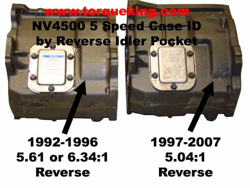 NV4500 Case differences for slow and fast reverse gear ratios