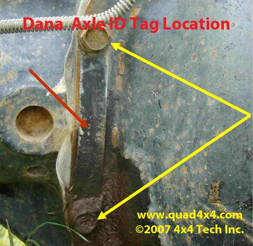 Dana Rear Axle Tag Location IDN-109