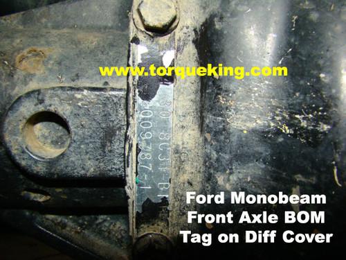 Ford Dana Monobeam Front Axle BOM Build Tag IDN-112