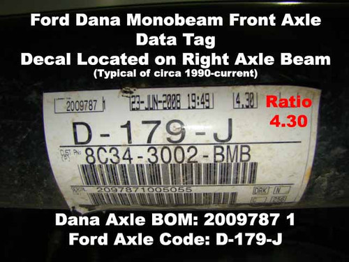 Ford Axle Data Tag on Right Front Axle Beam