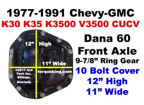 How Do i ID a 1977-1997 GM Dana 60 Front Axle