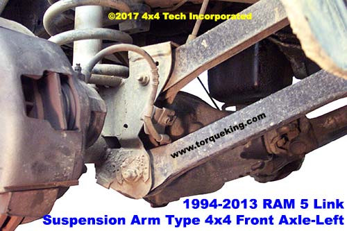 Right Side Coil-Link Front Suspension Typical of 1994-2013 Dodge and Ram 4x4 trucks