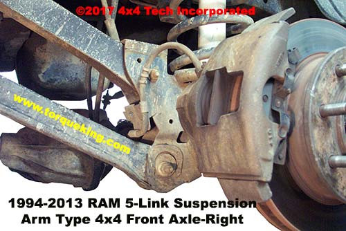 Left Side Coil-Link Front Suspension Typical of 1994-2013 Dodge and Ram 4x4 trucks
