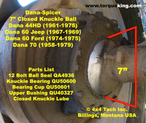 1974-1975 Ford F250 Dana 60 Closed Knuckle Front Axle Hemisphere Ball