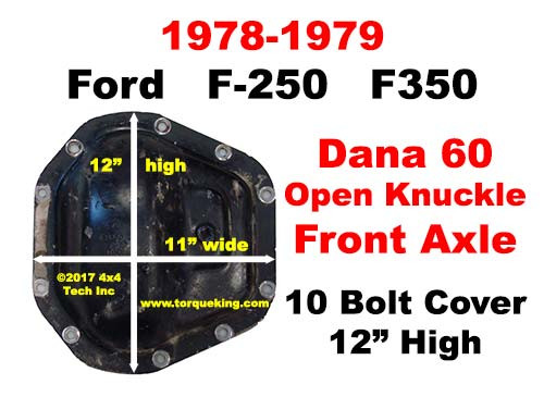 1978-1979 Ford Dana 60 Open Knuckle Front Axle Cover ID