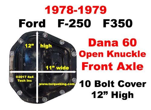 ID a 1978-1979 Ford F250 or F350 Dana 60 Front Axle IDN-134