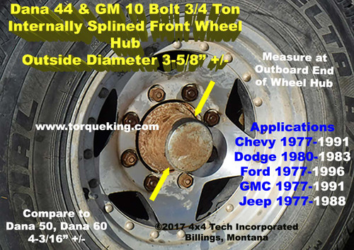 Ford Dana 44IFS Front Wheel Hub ID