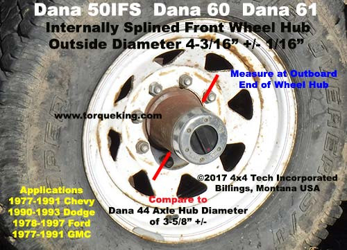 1985-1991 Ford F350 Dana 60 Front Wheel Hub ID