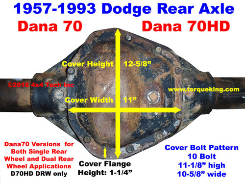 1957-1993 Dodge Dana 70 Rear Axle Identification IDN-140
