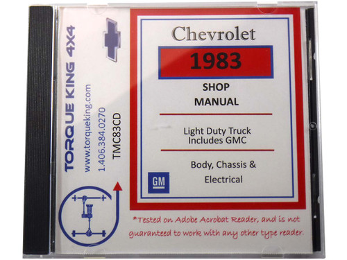 TMC83CD 1983 Chevy and GMC C/K Truck Factory Service Manual on CD for 1981 Model Year C1500, K1500, C2500, K2500, C3500, K3500 Models