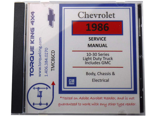 TMC86CD 1986 Chevy and GMC C/K Truck Factory Service Manual on CD for 1986 Model Year C1500, K1500, C2500, K2500, C3500, K3500 Models