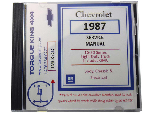 TM87CD 1987 Chevy and GMC C/K Truck Factory Service Manual on CD for 1987 Model Year C1500, K1500, C2500, K2500, C3500, K3500 Models