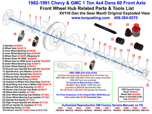 XV110 1982-1991 Chevy and GMC K30, K35, K3500, V3500 4x4 Front Wheel Hub Exploded View is a Free, Original, Detailed Dan the Gear Man® Exploded View with live product links in red showing the internally splined Dana 60 4x4 Front Wheel Hub and related parts for 1982-1991 Chevy and GMC 1 Ton 4x4 trucks. Available parts for both Single Rear Wheel (SRW) and Dual Rear Wheel (DRW) are shown. All listed parts EXCEPT the Wheel Hub, Brake Rotor, Wheel Bolts, and DRW Hub to Rotor Bolts are identical for both SRW and DRW axles.