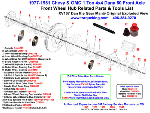 XV107 1977-1981 Chevy and GMC K30, K35, K3500, V3500 4x4 Front Wheel Hub Exploded View is a Free, Original, Detailed Dan the Gear Man® Exploded View showing the internally splined Dana 60 4x4 Front Wheel Hub and related parts for 1977-1981 Chevy and GMC 1 Ton 4x4 trucks. Available parts for both Single Rear Wheel (SRW) and Dual Rear Wheel (DRW) are shown. All listed parts EXCEPT the Wheel Hub, Brake Rotor, Wheel Bolts, and DRW Hub to Rotor Bolts are identical for both SRW and DRW axles.