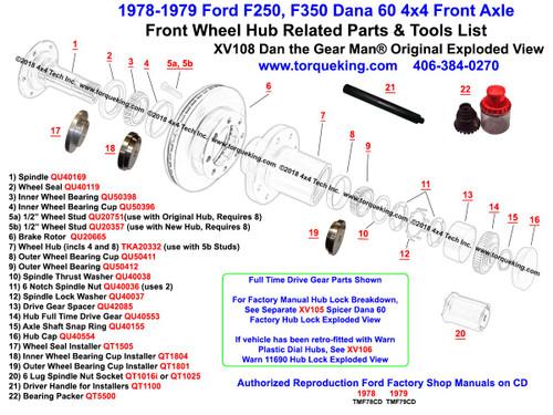 XV108 1978-1979 Ford F250, F350 Dana 60 Front Wheel Hub Exploded View