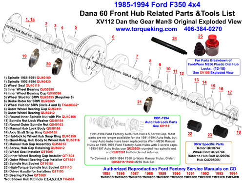 XV112 1985-1994  Ford F350 Dana 60 4x4  Front Wheel Hub Exploded View