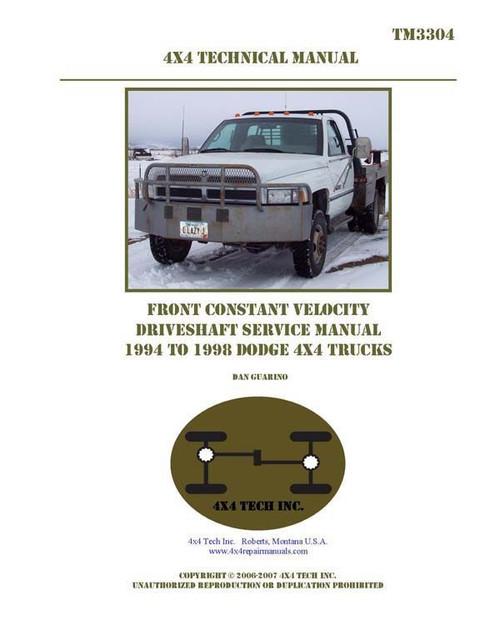 Cd printed shop manuals for dodge ram 4x4s pickups suvs tm3304 print 94 98 dodge cv publicscrutiny Choice Image