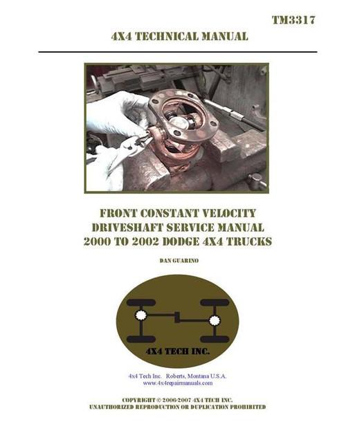 TM3317-1999.5-2002 Dodge Ram Front CV Driveshaft Service Manual