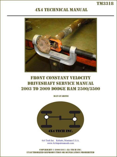 TM3318 2003-2009 Ram Front Constant Velocity Driveshaft Service Manual