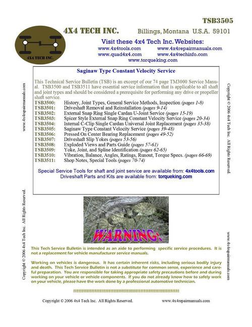 TSB3505 Tech Bulletin Saginaw Type Constant Velocity Service