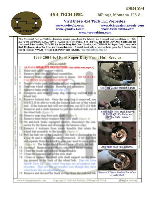 TSB4594P 1999-2004 SD & Excursion Front Hub Tech Service Bulletin