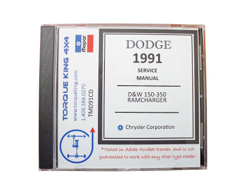 TMD91CD 1991 Complete Dodge Factory Service Manuals on CD