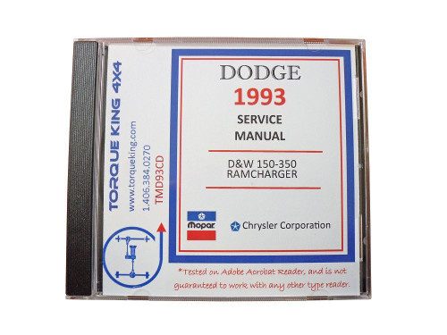 TMD93CD 1993 Complete Dodge Factory Service Manuals on CD