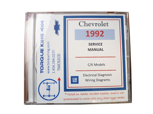 TMC92CD 1992 GM Factory C/K 1500-3500 Truck Shop Manual on CD is your source for service, maintenance, and repair information for your 1992 Chevy or GMC C/K series truck.