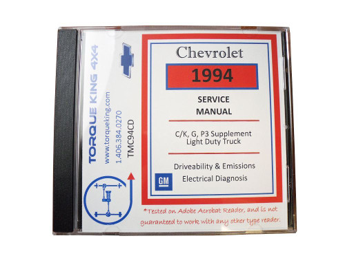 TMC94CD 1994 GM Factory C/K 1500-3500 Truck Shop Manual on CD is your source for service, maintenance, and repair information for your 1994 Chevy or GMC C/K series truck