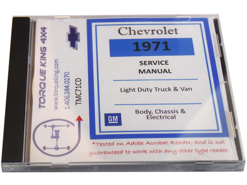 TMC71CD 1971 Chevy/GMC C/K 10-35 Light Duty Truck & Van: Body, Chassis, & Electrical Shop Manual on CD