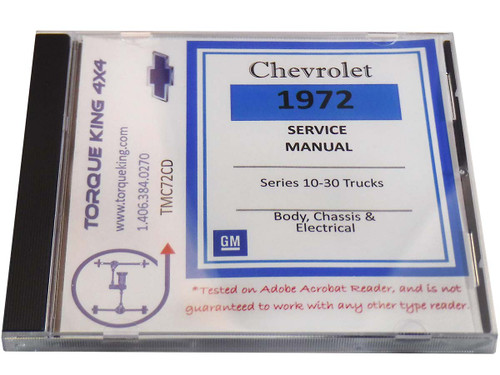 TMC72CD 1972 Chevy/GMC C/K 10-30 Light Duty Truck: Body Chassis, & Electrical Service Manual & Overhaul Manual on CD