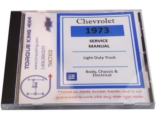 1973 Chevy Truck Factory Shop Manual on CD for C/K Models 10-30