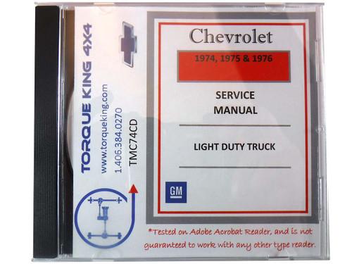 TMC74CD 1974-1976 Chevy Truck Shop Service Manual CD.