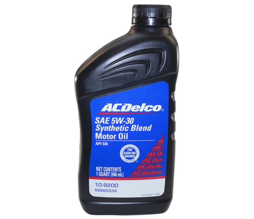 AC Delco 10-9200 SAE 5w30 Synthetic Blend Motor Oil. 1 Quart Bottle