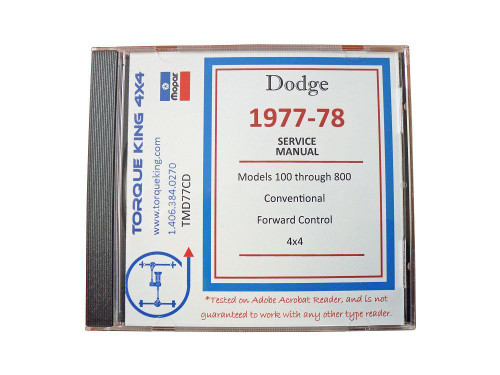 TMD77CD 1977-1978 Dodge Truck Factory Service Manual on CD