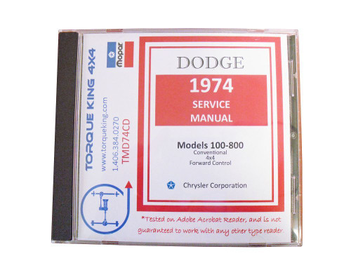 TMD74CD 1974 Dodge Factory Service Manuals on CD