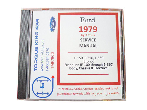 TMF79CD 1979 Ford Truck Compete Factory Shop Manual on CD for F100, F150, F250, F350 Pickup, Bronco, and Econoline Van Our Complete Ford Factory Shop Manuals on CD are your source for comprehensive service, maintenance, and overhaul information
