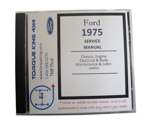 TMF75CD 1975 Ford Factory Shop Manual on CD for Trucks