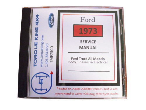 TMF73CD 1973 Ford Factory Shop Manual on CD for Truck