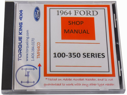 TMF64CD 1964 Ford Factory Shop Manual on CD for F100-F350